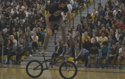 BMX bikers excite students during anti-bullying assembly