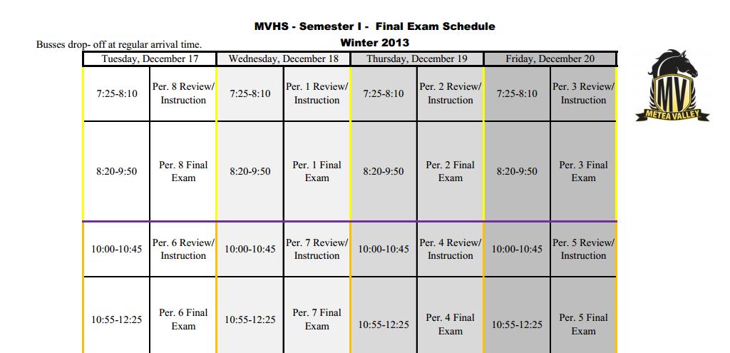 First Semester Finals Schedule