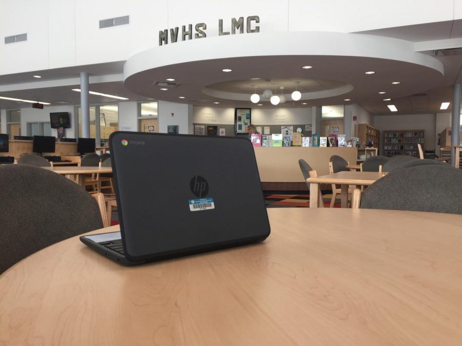 Senior checkout in LMC to return Chromebooks