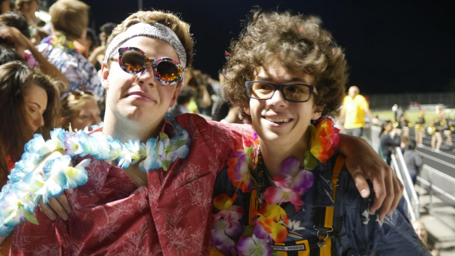 Junior Alex Lafferty and Senior Thomas Klapp helped hype up the student section during the first home game of the year.