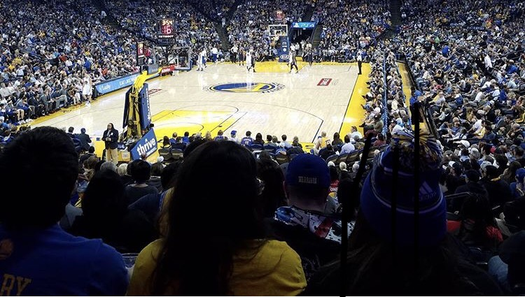 This photo was taken at the Golden State Warriors vs New Orleans Pelicans game in November 2016.