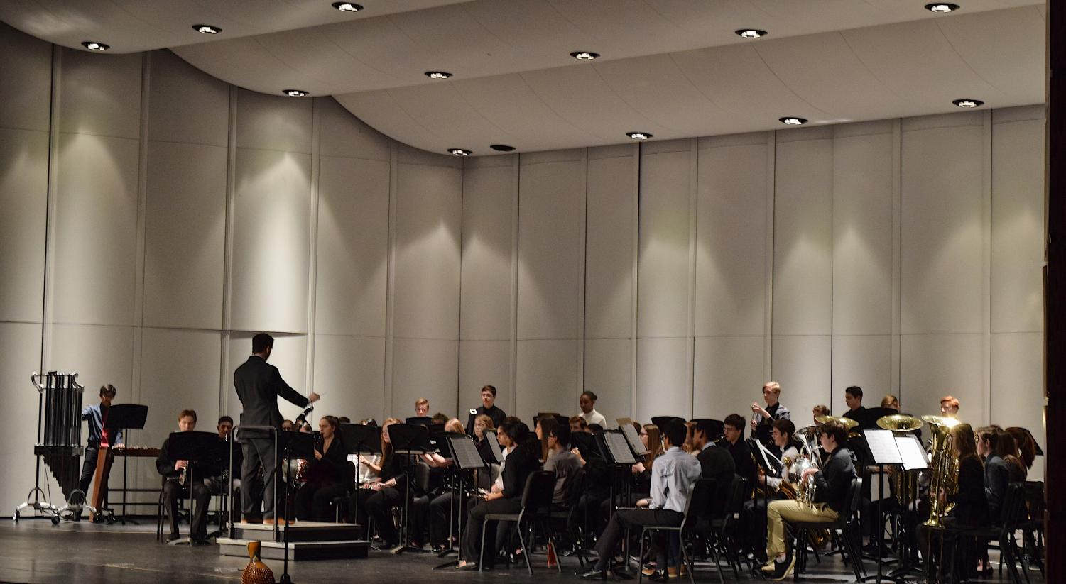 The+band+and+the+conductor+under+the+soft+spotlights%2C+performing+a+piece+they%27ve+been+preparing.