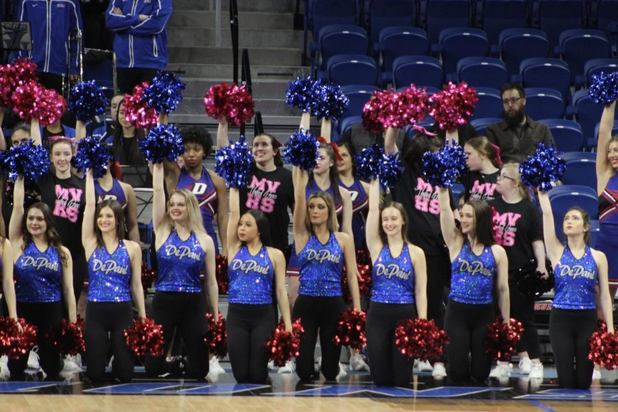 Unified Dance performs sideline cheers with DePauls Dance and Cheer teams.