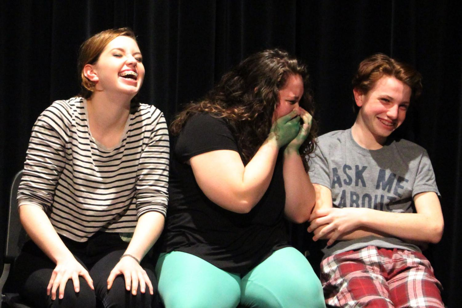 Casey+Pittman%2C+Elizabeth+Livorsi%2C+and+Jake+Zeitner+unable+to+hold+in+laughter+during+the+performance.