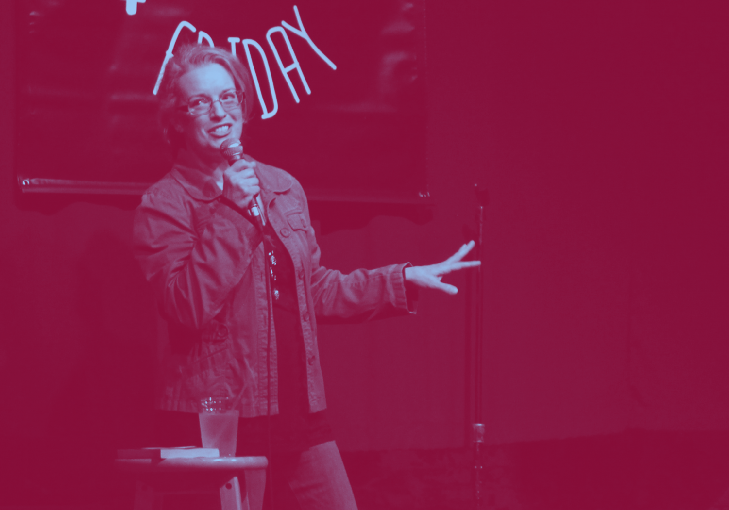 Improv sponsor Rebecca Walker presents her stand-up routine at Still Not Friday at the Two Brothers Round house on Sunday, April 7.
