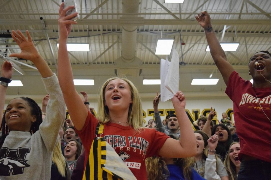 Senior section screaming with excitement to win the spirit stick.