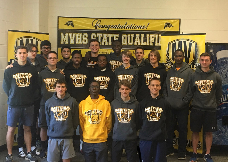 The mens track and field team came together for a photo before they went to Illinois High School Association State.