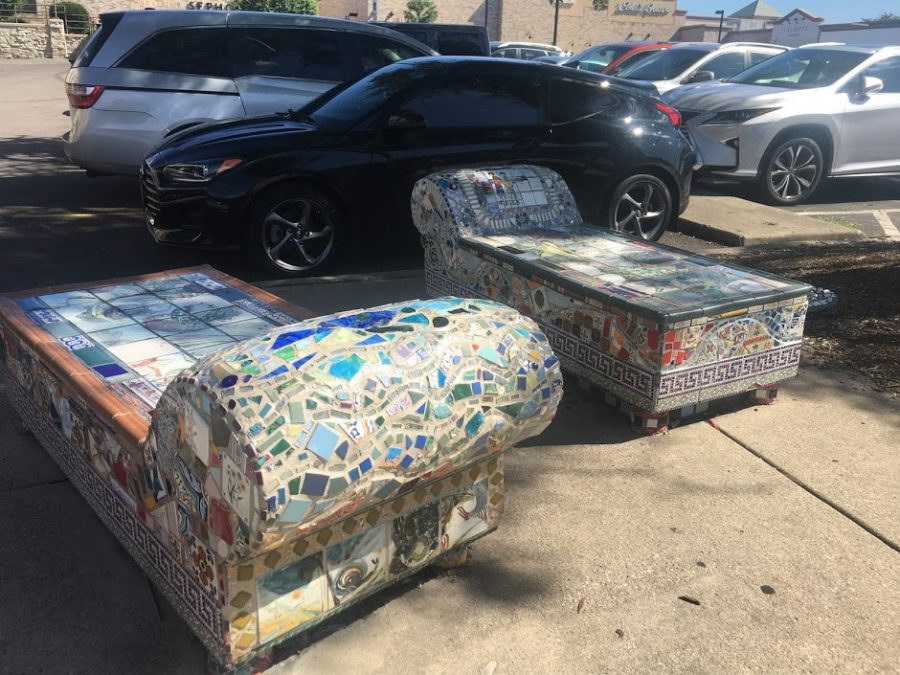Couches covered in mosaics.