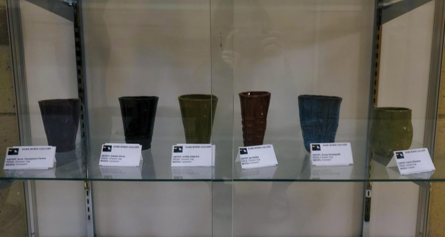 A variety of students ceramic cups (Left to right) Isyis Owens, Jubelie Perez, Irvhin Palacios, Jia Walker,  Avyay Surampalli, Carrie Weisman