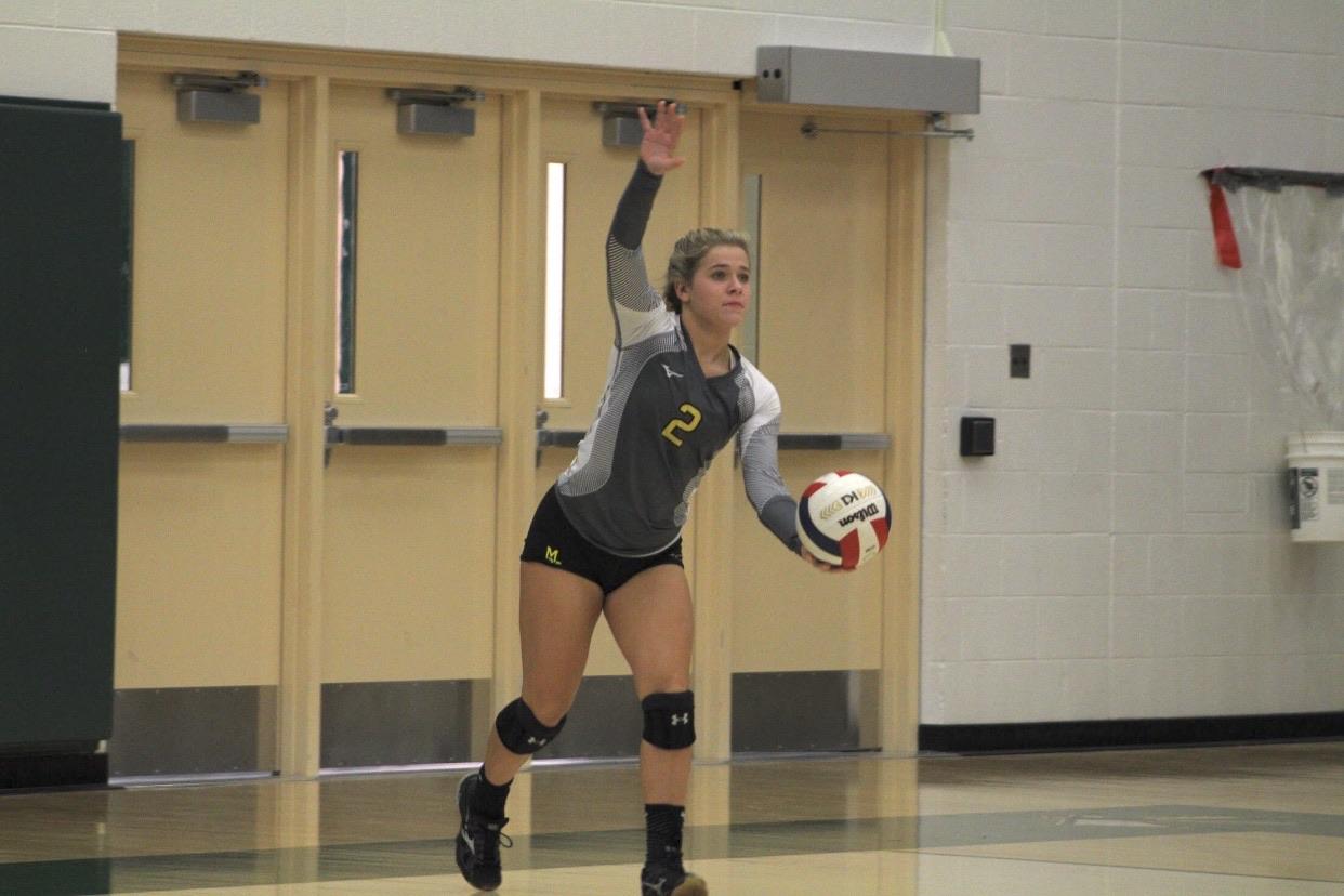 Senior Megan Deangelo gets ready for a serve.