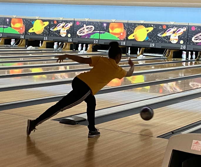 Senior Alissa Raboine is enjoying her last few matches as a senior by bowling for a cause.
