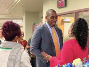 Adrian Talley meets members of the District 204 community at his Meet and Greet on Tuesday, as he takes on his new position as superintendent.