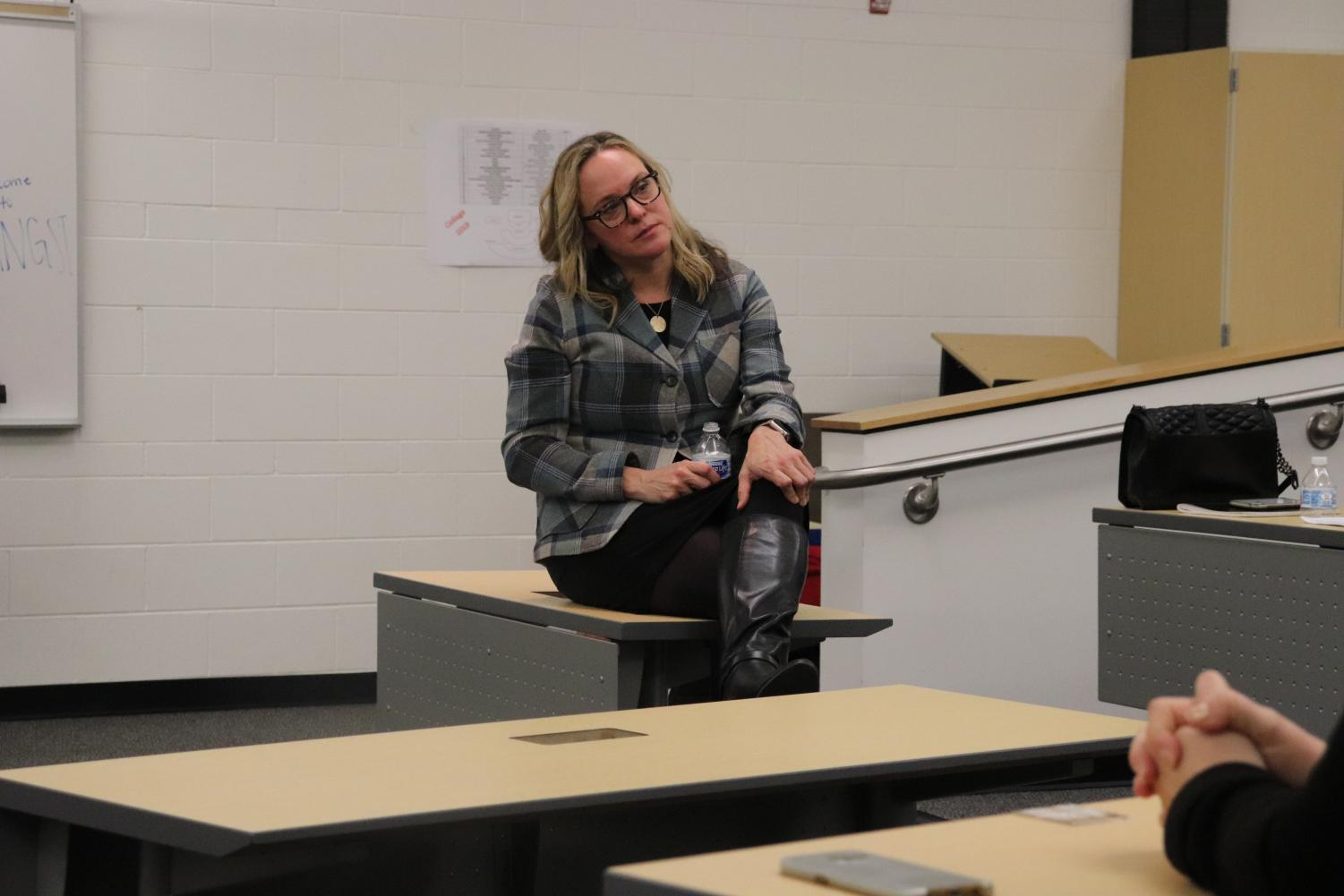 Guest speaker Kristen Breese speaks to parents about helping their teens fight anxiety