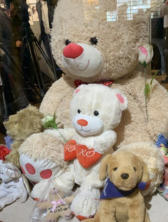 The Aurora Historical Society collected stuffed animals dedicated to the families of the victims.