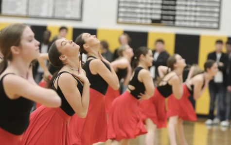 Orchesis performs the partner dance as their partners watch from the sidelines.