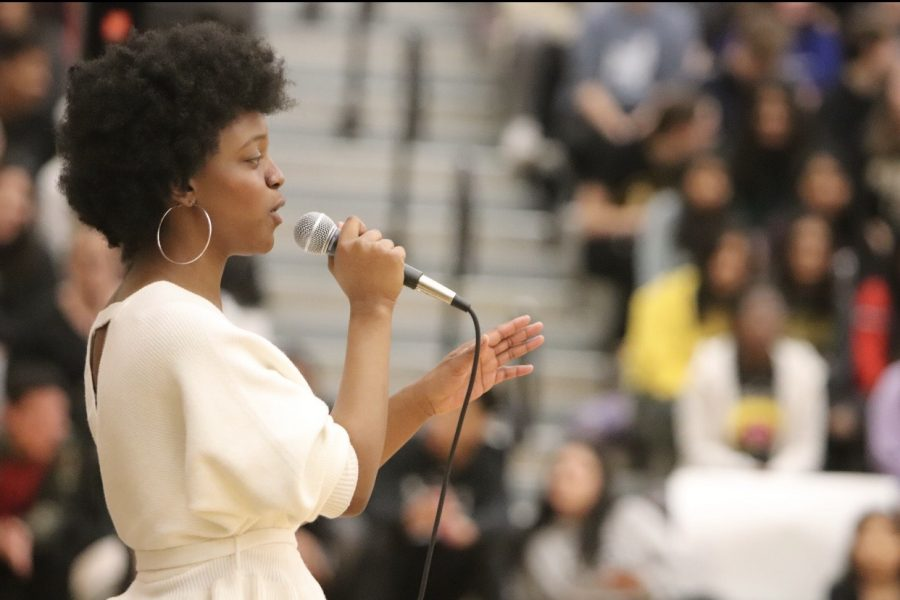 Senior Maya Williams sings with Varsity Choir.