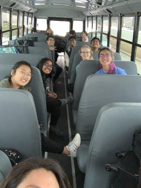 The All-State musicians get ready for the bus ride to Peoria.