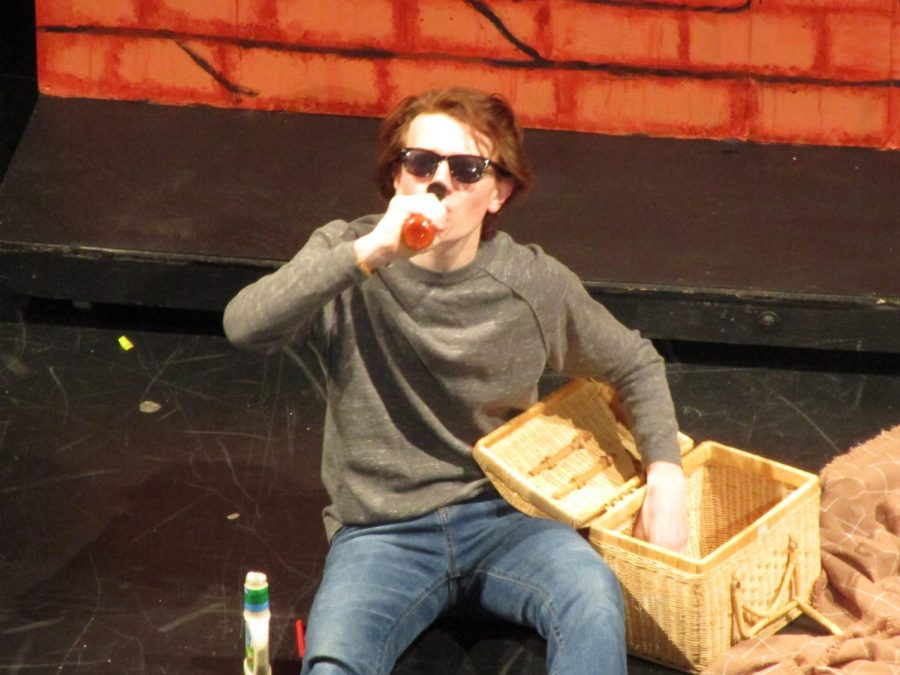 Junior Jake Zeitner drinks hot sauce in a sketch called