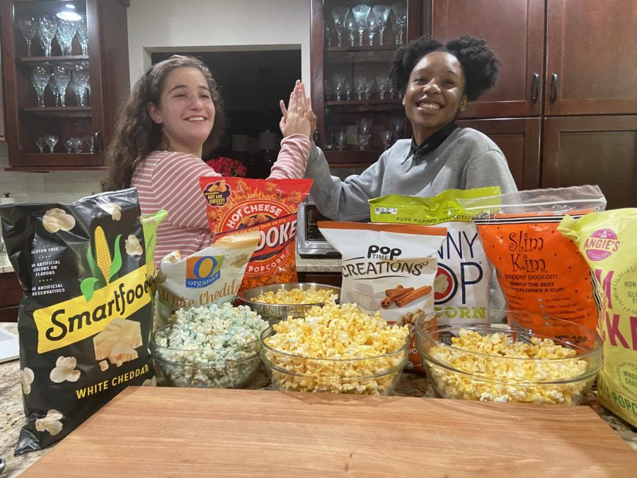 Stampede staff members Paige and Cache taste test and rank different popcorn flavors and brands.