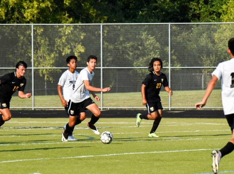 Soccer players participate at Mustang Mania after a long break from school