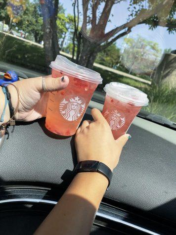 Seniors enjoy Starbucks together during their lunch break.