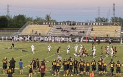 The Mustangs gather at Metea's stadium for a game against the Bellville East Lancers.